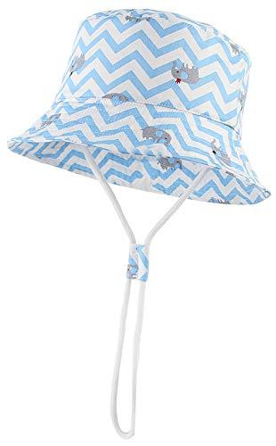 DEMU Baby Sonnenhut Kinder Fischerhut Fischermütze Sonnenschutz UV Schutz Strandhut Unisex Blau Elefant 52cm/2-3 Jahre