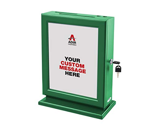 AdirOffice Customizable Wood Suggestion Box - Green - with 25 Suggestion Cards
