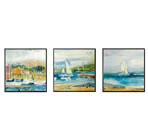 MBQ 3 Pieces Abstract Canvas Modern Painting Graffiti Sailboat Wall Paintings Seascape Wall Decoration Print, A