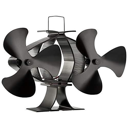Zennox Ventilateur écologique de poêle à 3 lames alimenté à la chaleur pour les brûleurs à bois et les brûleur de notation (Double 3 lame, noir)