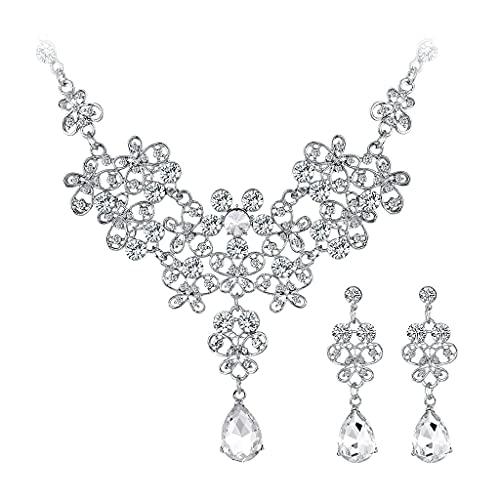 CareMont Conjuntos de Joyas de Boda para Mujeres Encantadoras Accesorios Conjunto de Pendientes de Collar de Cristal de Cristal de Diamantes de ImitacióN Color Plata