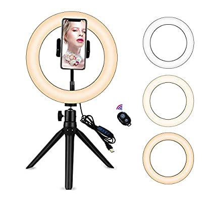 """Yefound 9"""" Portable Led Ring Light with Stand &Selfie Ring Light Cell Phone Holder and Remote Control for Live Streaming in YouTube, Facebook, Take Video,Makeup from YF004"""