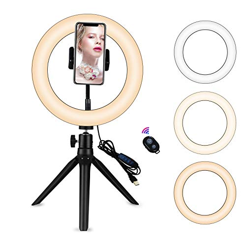 """Yefound 9"""" Portable Led Ring Light with Stand &Selfie Ring Light Cell Phone Holder and Remote Control for Live Streaming in YouTube, Facebook, Take Video,Makeup"""