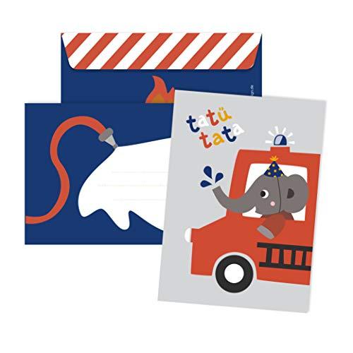 JulicaDesign Einladung Feuerwehr Geburtstag | 6 Einladungskarten mit Umschlag | Feuerwehrparty