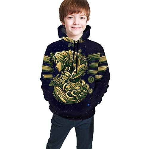 Children's Hoodies 3D Print Le-Gend of Ze-Lda O-Carina of Time Unisex Pullover Hooded Sweatshirts for Boys/Girls/Teen/Kid's 14-16 Years Black