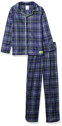 Calvin Klein Boys' Sleepwear Coat Front Notch Color Top & Pj Pant Pajama Set, Plaid Navy, L