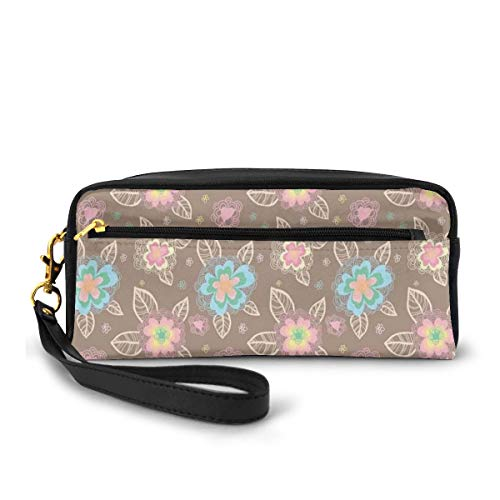 Pencil Case Pen Bag Pouch Stationary,Romantic and Cute Spring Nature Inspired Pattern with Colorful Blooms Hand Drawn,Small Makeup Bag Coin Purse