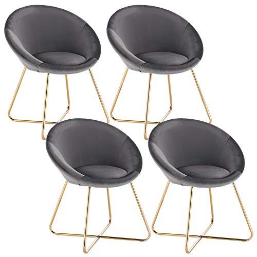 WOLTU 4 x Esszimmerstühle 4er Set Esszimmerstuhl Küchenstuhl Polsterstuhl Design Stuhl, mit Sitzfläche aus Samt, Gestell aus Metall, Dunkelgrau, BH217dgr-4