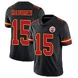 FGRGH Chiefs Rugby Jersey, Mahomes N ° 15 Jeux Jersey, Uniformes de Football pour Les Fans Legend T-Shirt Edition brodée Respirante et résistante à l'usure pour Hommes Black-XXL
