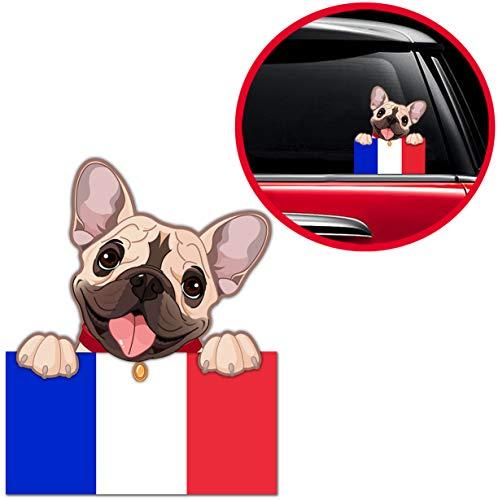 Biomar Labs Pegatina Adhesivo Perro Cachorro French Bulldog Frances Bandera...