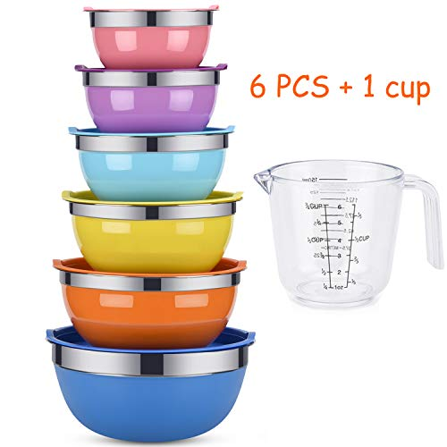 Mixing Bowls Weiyudang 6 piece Salad Bowl Stainless Steel Basin Metal Bowls Set With Colorful Lids  Set Includes 2 25 3 4 55 7Quart Measuring Cup as a Gift