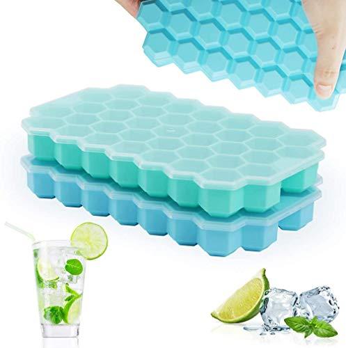 Rottay Eiswürfelform, 37-Fach Eiswuerfel Form 2er Pack Silikon Eiswürfelbehälter Mit Deckel Ice Cube Tray, Stapelbar Eiswürfelformen für Whisky Cocktails Saft Schokolade Süßigkeiten (grün + blau)