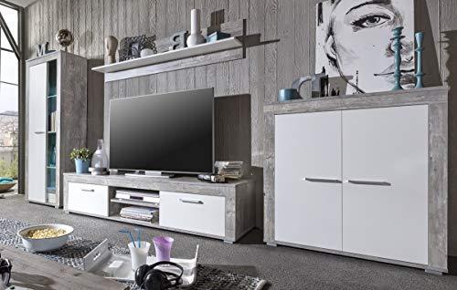 6.6.7.2945: made in BRD – Serie AWBW – Lowboard – weiss-grau gescheckt dekor – 2 Klappen – 2 Fächer – TV-Schrank - 3