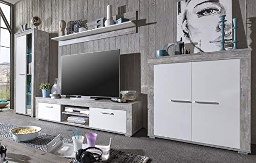 7.7.6.8.2950: made in BRD – Serie AWBW – Highboard weiss-grau gescheckt dekor – Hochkommode weiss-grau gescheckt dekor - 3