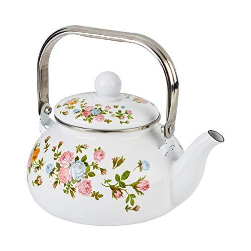 Emaille-Teekessel, Teekanne 2,5L, alle Herdplatten, Blumenmuster, Wasserkessel, 20 x 26 x 11 cm