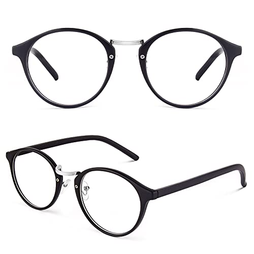 CGID Classic Nerdbrille Nostalgie Pantobrille Streberbrille Hornbrille clear lens Damen Herren,Matte Schwarz