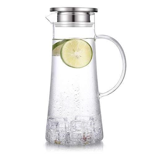 SUSTEAS Jarra de vidrio de 55 onzas con tapa jarra de té helado jarra de agua caliente agua fría vino café leche y jugo jarra de bebidas