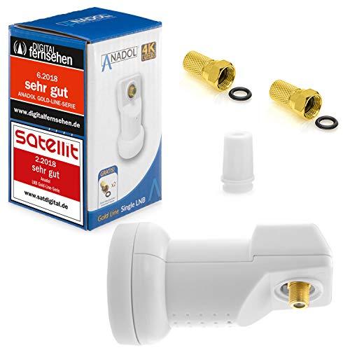 Anadol Gold Line Digital Single-LNB [ Test 2X SEHR GUT *] - 0.1dB Rauschmaß - Wetterschutz LNB - Full HD-TV 4K UHD Ultra-HD - Digitaler 1fach-LNB für Satellit - LNB inkl. 2 vergoldete F-Stecker