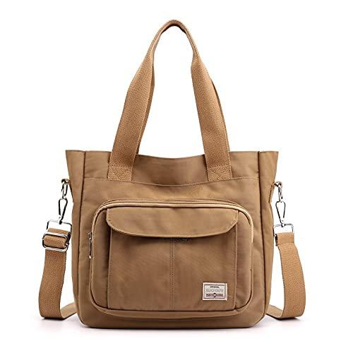 Shoulder Bags Fashion Canvas Women Bag Large Capacity Women Handbags Female Tote Bag Casual Shoulder Messenger Bags for Women By BBLL (Color : Khaki, Size : 31cm x 11cm x 28cm)