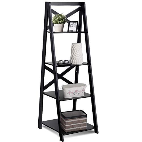 Tangkula 4-Tier Ladder Shelf Bookcase Leaning Free Standing Wooden Frame Decor Bookshelf Storage Flower Shelf Plant Display Shelf for Home Office