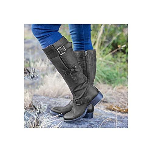 SJDFK Zapatos ecuestres Caballero hasta la Rodilla para Mujer,Botas Cuero Gran tamaño para Motociclista,Botas Montar Vaquero Occidental con Cremallera Lateral y Punta Redonda,Black-37