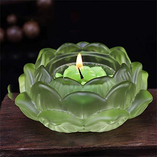 Lotus Crystal - Portavelas de cristal (7 colores, 4,5 cm de diámetro)