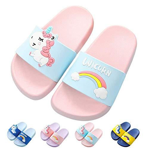HausFine Zapatos de Ducha, Playa y Piscina Sandalias de Baño Antideslizantes Sandalias de Unicornio para niños y niñas (30.5 EU, Rosado)