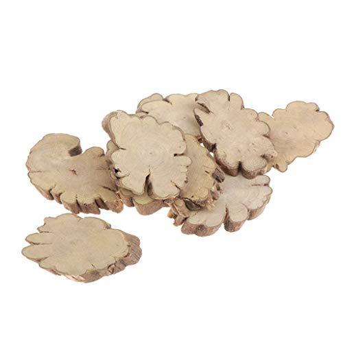 IPOTCH 10 Piezas Forma de Flor de Madera de Madera Rebanadas de Troncos Corteza de árbol Natural para Decoración del Hogar Y Centros de Mesa Rústicos ⭐