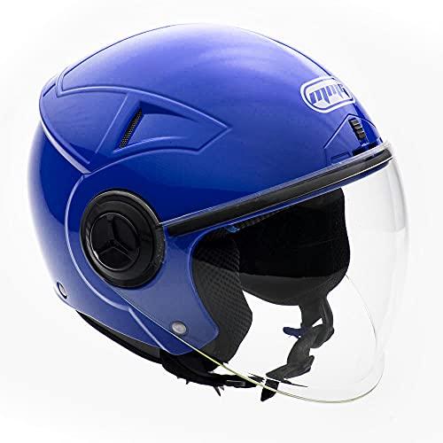 MMG Motorcycle Scooter Open Face Helmet Pilot Flip Up Visor DOT, Blue, Large