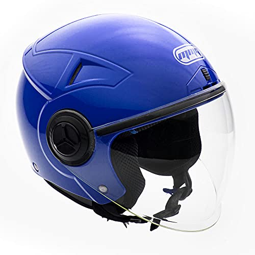MMG Helmets Open Face Pilot Style Integrated Flip Up Visor DOT - Model 28 (Large, Blue)