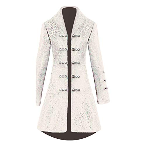 Damen Gothic Langer Jacke Steampunk Jacquard Gehrock Luxuriös Halloween Palast Fiesta Kleidung Königin Vampir Uniform Taille Schnürung Perlen Strickjacke (Color : Weiß, Size : Tag L=Eu M)