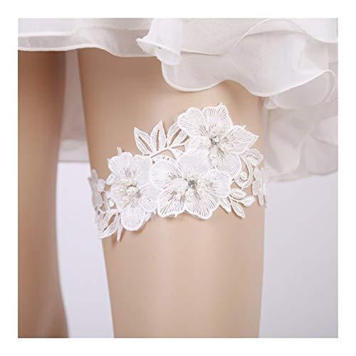 Conjunto Liga de la Boda del Rhinestone de la Flor del Bordado Rebordear Blancos Ligas for Las Mujeres/Mujer/Novia del Anillo Nupcial del Muslo Liga de la Pierna (Color : 5521)