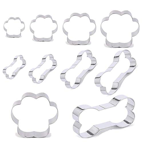 Dog Bone Cookie Cutter Mold-Lncluding 5 Dog Bones and 5 Dog Paw Print Biscuit Cutter Shapes,Stainless Steel Biscuit Cutters for Children's Cakes,Biscuits