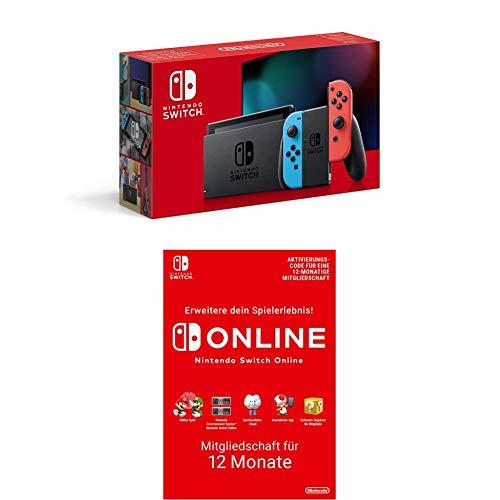 Nintendo Switch Konsole - Neon-Rot/Neon-Blau (2019 Edition) + Nintendo Switch Online Mitgliedschaft 12 Monate (Download Code)