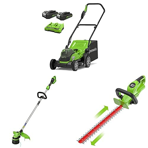 Greenworks 2x24 V 36 cm Mower, Trimmer, 24 V Cordless Hedge Trimmer Combo Kit Include 2x2 Ah Battery and Dual Slot Charger