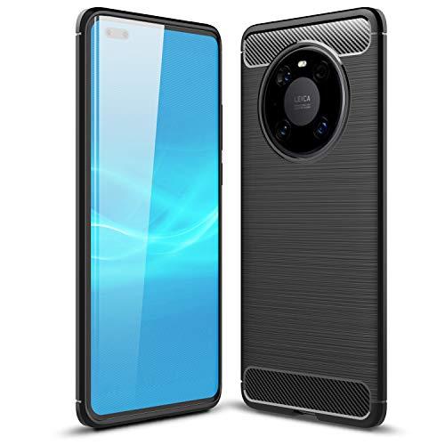 TTVie Hülle für Huawei Mate 40 Pro, Ultra Slim Weiche Karbon Optik TPU Silikon Handyhülle Schutz vor Stürzen & Stößen Schutzhülle für Huawei Mate 40 Pro Smartphone 2020 Modell, Schwarz