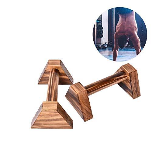 learnarmy 1 Paar Push Ups Doppelstange Holz, Liegestützgriffe mit ergonomischem Holz Griff - rutschfeste Push-Up Bars Handstandbarren für Krafttraining und Calisthenics