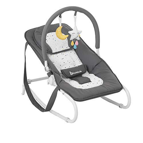 Badabulle Easy Moonlight Babywippe, mit integrierter Kopfstütze, 5-fach verstellbarer Rückenlehne, abnehmbarem Spielbogen und Sitzbezug