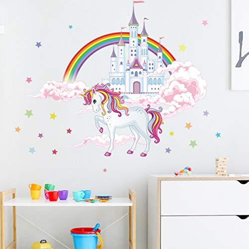 Calcomanías de pared de unicornio, diseño de unicornio, arco iris, decoración de pared con castillos, estrellas, nubes para niñas, dormitorio, guardería, Navidad, fiesta de cumpleaños