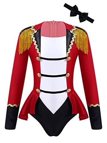 MSemis Maillot Manga Larga de Patinaje Artistico Niña Maillot Rojo de Danza Ballet Disfraz de Bailarina de Fiesta Navidada Carnaval Ropa de Danza Rojo 7-8 años