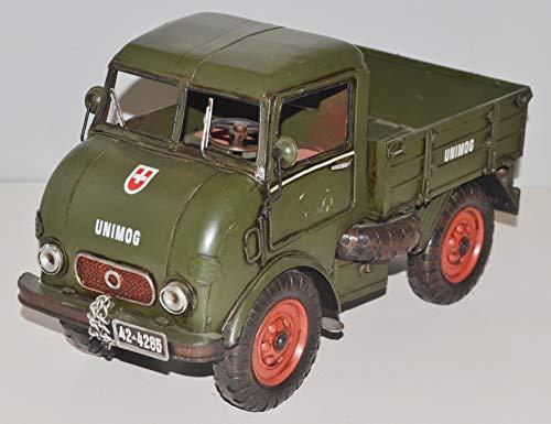 JS GartenDeko Blechauto Nostalgie Modellauto Oldtimer Automarke Unimog Modell Typ 401 Froschauge aus Blech L 32 cm