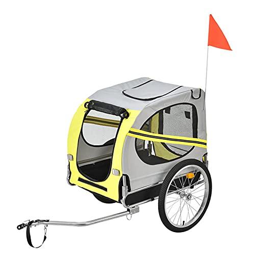 DFFng Aluminium-Hundefahrradanhänger, langlebiger Rahmen – einfach an Fahrräder anzuschließen und zu trennen – inklusive Halteseil, zusammenklappbar zum Aufbewahren
