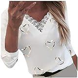 XUEbing Camiseta de manga larga con estampado de corazones y cuello en V para mujer