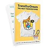 TransOurDream Tru-Iron on Heat Transfer Paper for Light Fabric (10 Sheets, 8.5x11') Iron-on...