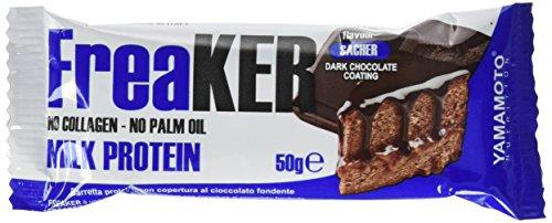 FreaKER 20 barrette proteiche da 50 grammi - senza aggiunta di grassi idrogenati, olio di palma, collagene idrolizzato e proteine della soia (Sacher con copertura di cioccolato fondente)