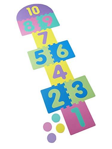 Vertbaudet Tapis de Jeux, marelle et Puzzle en Mousse + 4 palets Multicolore TU