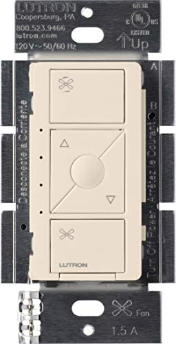 Lutron Caseta Smart Home Ceiling Fan Speed Control Switch, Compatible with Alexa, Apple HomeKit, and the Google Assistant | PD-FSQN-LA | Light Almond