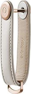 Orbitkey Leather Key Organizer | Durable, Stainless Steel Locking Mechanism, Slim & Quiet Profile | Holds up to 7 Keys, Stone with Grey Stitching