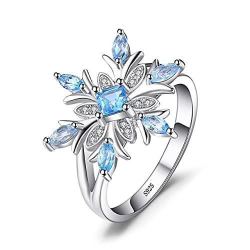 DJMJHG Anillo de joyería de Plata Aguamarina 925 para Encanto de Mujer Flor Copo de Nieve Piedras Preciosas Azules Aniversario Anillos de Boda Regalos 9 Azul