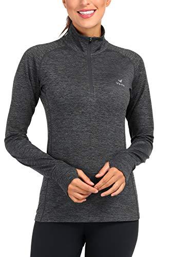 Giacca da Yoga da Donna con Mezza Zip, in Pile Termico, a Maniche Lunghe, con Fori per i Pollici - - XL